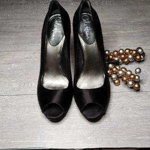 Cole Haan Black Satin Peep Toe Pump w/ Nike Air
